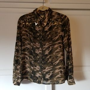 Matilda Army Camo w/ Cut-out Crosshatching Blouse